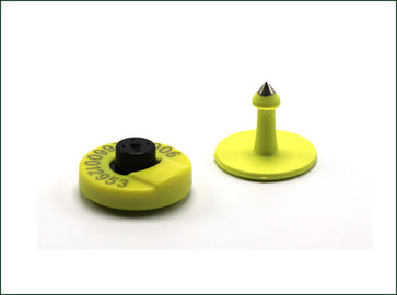 Passive RFID Animal Ear Tags Circular Shape Read / Write Chip Type Yellow Color