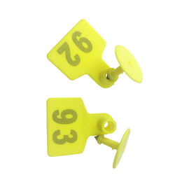 Yellow UHF RFID Livestock Tags / Small Multi Functional RFID Cattle Tags
