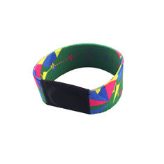 Custom Printing RFID Chip Wristband Fabric Elastic For Theme Park 13.56 Mhz