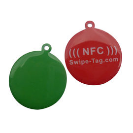 HF NFC NTAG213 RFID Disk Tag , QR Code And URL Encoding RFID Pet Tag